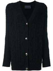 Philipp Plein Superboy Cable Knit Cardigan Black