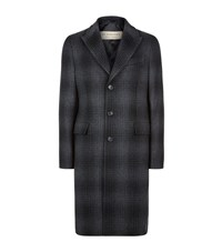 Burberry Cashmere And Wool Check Coat Male Black