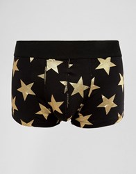Asos Hipsters With Metallic Gold Foil Star Print Black
