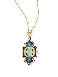 Armenta Old World Green Turquoise Blue And White Sapphire Diamond And 18K Yellow Gold Cross Pendant