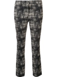 Ql2 Abstract Print Cropped Trousers Black