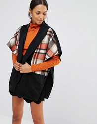 Love And Other Things Check Pattern Short Sleeve Coat Black