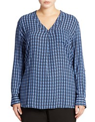 Lord And Taylor Plus Patterned Blouse Evening Blue