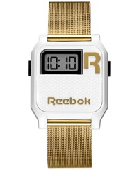 Reebok Men's Digital Nerd Graffiti Gold Ion Plated Mesh Bracelet Watch 35Mm Rc Vne U9 Pws2 W2 White