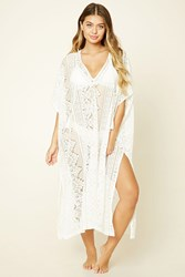Forever 21 Floral Lace Swim Cover Up Cream