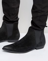 Asos Pointed Chelsea Boots In Black Suede Black