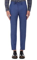 Brooklyn Tailors Men's Wool Micro Canvas Trousers Blue