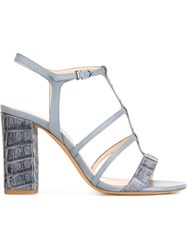 Alexandre Birman Strappy Crocodile Effect Sandals Blue