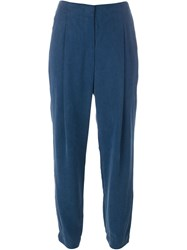 Akris Pleated Cropped Tapered Trousers Blue