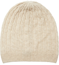 Johnstons Cable Knit Cashmere Beanie Dark Medium Dye