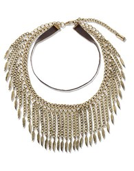 Steve Madden Leaf Collar Necklace Gold