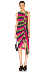 Isa Arfen Ruched Up Dress In Pink Green Stripes