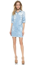 7 For All Mankind Boyfriend Shirtdress Bleached Light Blue
