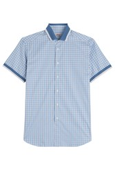 Brioni Cotton Short Sleeve Plaid Shirt Blue