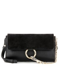 Chloe Faye Mini Leather Wallet Bag Black