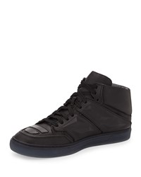 Exotron Leather High Top Sneaker Black Alejandro Ingelmo