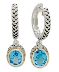 Effy Collection Balissima By Effy Blue Topaz Oval Leverback Earrings 4 Ct. T.W. In 18K Gold And Sterling Silver