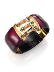 Alexis Bittar Pop Surrealist Lucite Mother Of Pearl And Crystal Hook And Eye Bangle Bracelet Gold Wine