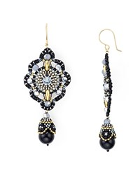 Miguel Ases Swarovski Crystal And Onyx Double Drop Earrings Black Gold