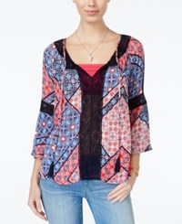 Jessica Simpson Alaya Printed Lace Trim Peasant Top Blue Red Combo