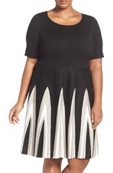 Gabby Skye Plus Size Women's Fit And Flare Sweater Dress Black Taupe