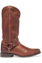 Frye Wyatt Distressed Leather Boots Brown