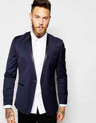 Asos Slim Fit Collarless Blazer Navy