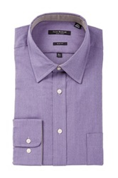 Isaac Mizrahi Black Label Solid Long Sleeve Button Front Dress Shirt Purple