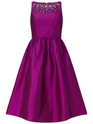 Adrianna Papell Sleeveless Beaded Taffeta Party Dress Berry