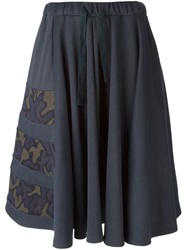 Y 3 Camouflage Print Flared Skirt Grey
