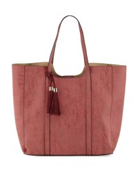 Neiman Marcus Braided Tassel Faux Leather Tote Bag Rose