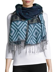 Theodora And Callum Southwestern Print Blanket Scarf Night Blue
