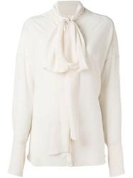 Chloe Pussy Bow Blouse Nude And Neutrals