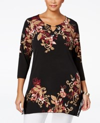 Jm Collection Plus Size Floral Chiffon Trim Top Only At Macy's Brettwood Blsm