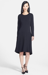 Classiques Entier Wool Blend High Low Drop Waist Dress Black