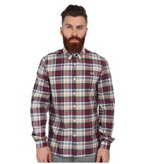 Fred Perry Engineered Polka Dot Check Shirt Rosso Men's Long Sleeve Button Up