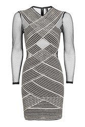 Topshop Long Sleeve Bandage Bodycon Dress Monochrome