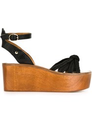 Isabel Marant 'Zia' Wooden Platform Sandals Black