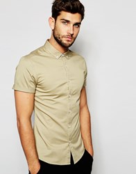 Asos Skinny Shirt In Stone Twill With Short Sleeves Stone