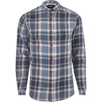 Only And Sons River Island Mens Blue Casual Check Shirt