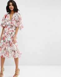 Asos Ruffle Cape Soft Midi Dress In Vintage Floral Multi