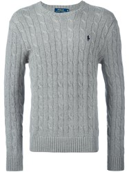 Polo Ralph Lauren Embroidered Logo Jumper Grey