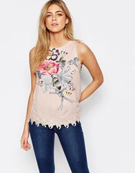 Oasis Bird Print Shell Top Ivory White