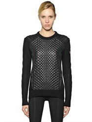 Moncler Quilted Nylon Lacque And Alpaca Sweater