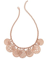 Charter Club Rose Gold Tone Cutout Charm Necklace