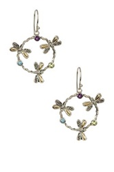 Phillip Gavriel Sterling Silver And 18K Yellow Gold Amethyst Peridot And Blue Topaz Dragonfly Detailed Drop Earring Multi