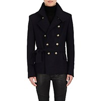 Balmain Men's Virgin Wool Peacoat Navy