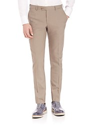 Pal Zileri Wool Slim Fit Dress Pants Tan