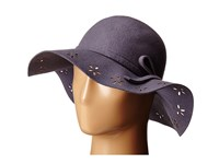 Betsey Johnson Felt Floppy With Floral Cut Out Brim Grey Caps Gray