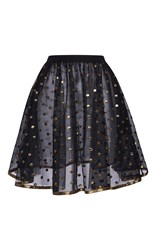 Elie Saab Short Skirt With Gold Dots Embroidered On Tulle And Gold Bias Black